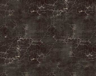 Free Spirit Abandoned Cracked Shadow in Black 128 designed by Tim Holtz - Sold in 1/2 yard increments