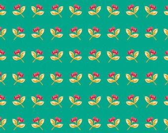 1/2 Yard Art Gallery Sun Kissed Basking Buds in Jade 84303 designed by Maureen Cracknell