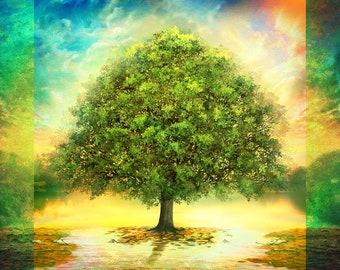 "LAST Tree of Life Panel from Oasis Fabrics 59"" X 59"""