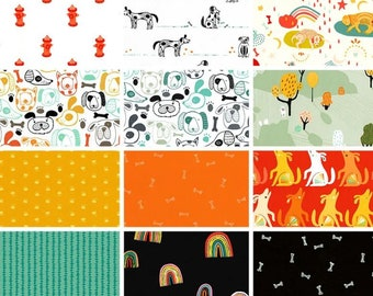 Oh Woof Fabric Bundle  from Art Gallery fabrics designed by Jessica Swift- 12 prints - Pick your cut