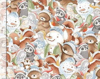 1/2 Yard Timeless Treasure Snow Day Packed Winter Animals 7550 by Bunnies by the Bay