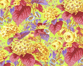 LAST yard Rose and Hydrangea in Citrus designed by Philip Jacobs for Kaffe Fassett Collective PJ097