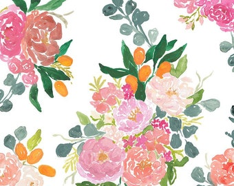 Dear Stella Orangerie, Bouquets in White 1861 designed by Caitlin Wallace Rowland - Sold in 1/2 yard increments