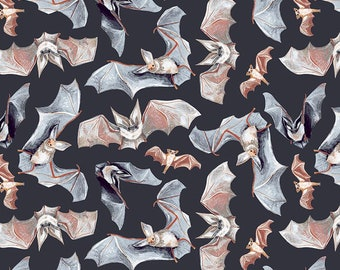 Dear Stella Toil and Trouble, Bats in Graphite 1818 designed by Rae Ritchie - Sold in 1/2 yard increments