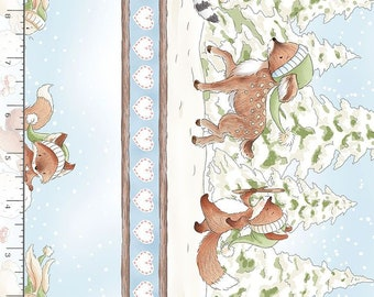 "1/2 Yard Timeless Treasure Snow Day Winter Animal 11"" Stripe 7552 by Bunnies by the Bay"