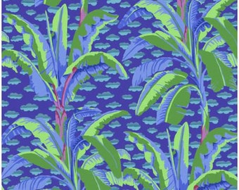 Banana Tree in Purple fabric designed by Kaffe Fassett GP179  - Sold in 1/2 yard increments
