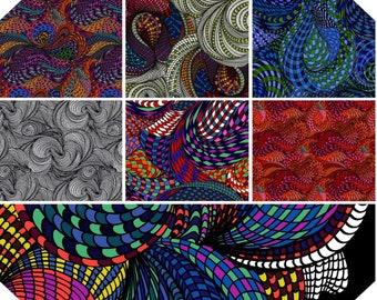 Fabric Bundle of Free Spirit Bio Geo-1 designed by Adrienne Leban - 7 prints, pick your cut
