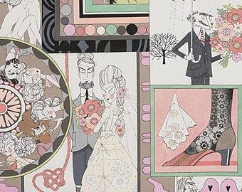 Ghastlie, Ghastlie Love in Natural 8788A from Alexander Henry Fabrics - Sold in 1/2 yard increments