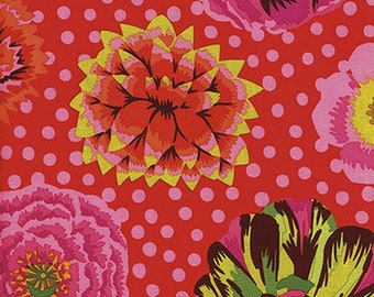 Big Blooms  in Red Kaffe Fassett fabric GP59 - Sold in 1/2 yard increments