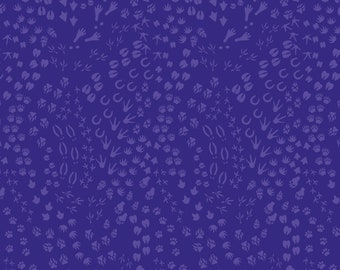 Free Spirit Migration Animal Tracks in Purple 022 designed by Lorraine Turner - Sold in 1/2 yard increments