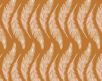 Art Gallery Homebody Presently Plums in Gold 34955 designed by Maureen Cracknell - Sold in 1/2 Yard Increments