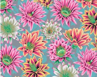 Cactus Flower in Tawny fabric designed by Philip Jacobs PJ096 for Kaffe Fassett  - Sold in 1/2 yard increments
