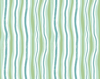 Clothworks Jungle Jive Wavy Stripe in Mint 3114 110 designed by Asa Gilland - Sold in 1/2 yard increments