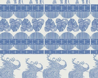 1/2 yard Art Gallery Indigo and Asters, Good Fortune in Royal 14804 designed by Bari J