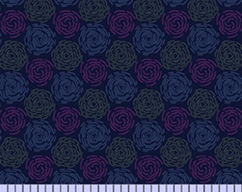 1/2 yard Las Flores 984 Blue designed by Nancy Rink for Studio 37 of Marcus Bros Fabrics