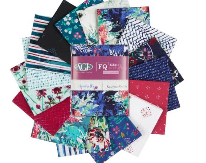 Featured listing image: FQ Fabric Bundle  Art Gallery Fabrics Aquarelle  designed by Katarina Roccella - 16 prints