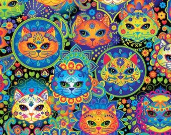 Timeless Treasure Cats, Bright Cat Sugar Skulls 7817 - Sold in Half yard increments