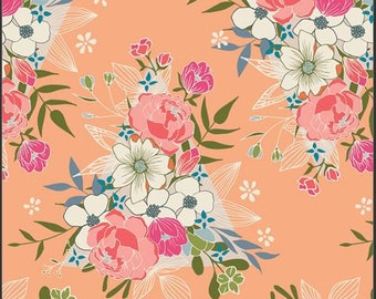 Art Gallery Open Heart, Flowering Hope 24350 designed by Maureen Cracknell - Sold in 1/2 Yard Increments