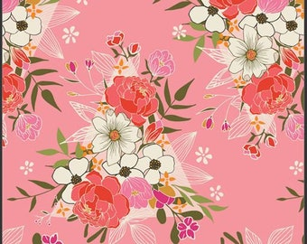 Art Gallery Open Heart, Flowering Love 14350 designed by Maureen Cracknell - Sold in 1/2 Yard Increments