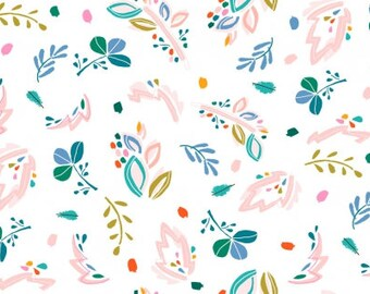 1/2 Yard Dear Stella Abstract Floral  KNIT Cotton Lycra Jersey 4 way stretch K1261