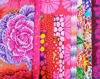 End of Bolt Fabric Bundle Kaffe Fassett Red and Pink Colorway - 3.67Yards