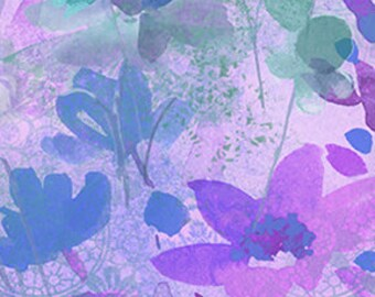 Clothworks Good Vibes Floral in Light Purple 3119 26 designed by Sue Zipkin - Sold in 1/2 yard increments