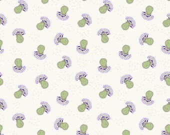 Clothworks Thistle Patch Flower Heads in Light Khaki 3066-11 designed by Teresa Magnuson - Sold in 1/2 yard increments