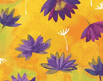 Clothworks Good Vibes Water Lilies in Gold 3120 68 designed by Sue Zipkin - Sold in 1/2 yard increments