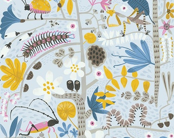 Clothworks Jungle Jive Insects in Light Gray 3113 5 designed by Asa Gilland - Sold in 1/2 yard increments