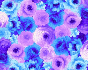 Timeless Treasures Rain Blossom, Packed Roses in Blue 7938 designed by Chong A Hwang  - Sold in 1/2 Yard increments