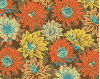 Cactus Flower in Brown fabric designed by Philip Jacobs PJ096 for Kaffe Fassett  - Sold in 1/2 yard increments