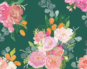 Dear Stella Orangerie, Bouquets in Forest 1861 designed by Caitlin Wallace Rowland - Sold in 1/2 yard increments