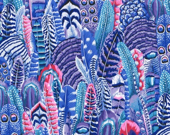 Feathers in Cool fabric designed by Philip Jacobs PJ055 for Kaffe Fassett  - Sold in 1/2 yard increments