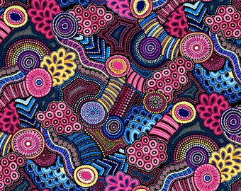 Gondwana Geometric Navy and Pink 4082 from Oasis Fabrics - Sold in 1/2 yard increments