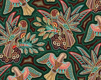 Gondwana Birds in Green 4121 from Oasis Fabrics - Sold in 1/2 yard increments
