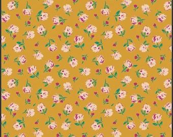 1/2 Yard Art Gallery Fabrics Flower Society, Gentle Rosebuds in Solar 99113 designed by AGF Studiios