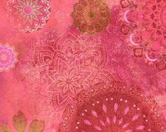 Clothworks Good Vibes Medallions in Raspberry 3118 74 designed by Sue Zipkin - Sold in 1/2 yard increments