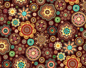 Gondwana Medallions Brown 4131 from Oasis Fabrics - Sold in 1/2 yard increments