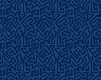 1/2 yard Las Flores 979 Blue designed by Nancy Rink for Studio 37 of Marcus Bros Fabrics