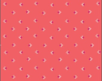 Art Gallery Open Heart, Everlasting Tokens in Coral 14353 designed by Maureen Cracknell - Sold in 1/2 Yard Increments