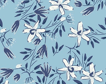 Clothworks Blue Goose, Floral in Light Blue 3099 29 designed by Meags & Me - Sold in 1/2 yard increments