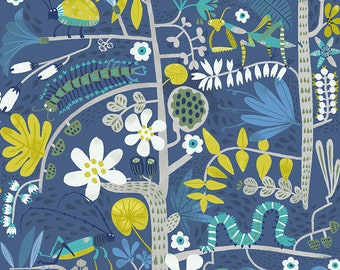 Clothworks Jungle Jive Insects in Dark Denim 3113 89 designed by Asa Gilland - Sold in 1/2 yard increments