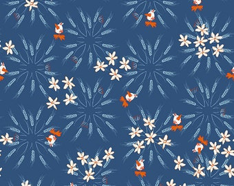Clothworks Blue Goose, Wheat in Dark Denim 3101 89 designed by Meags & Me - Sold in 1/2 yard increments