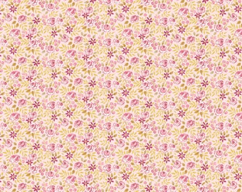 Free Spirit Fabrics Adelaide Grove Canberra Rose in Ochre 310 designed by Dena Designs - Sold in 1/2 yard increments