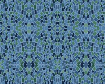 1/2 yard Marcus Bros Dance at Dusk, Mosaics in blue 851 150 designed by Sarah J