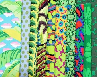 End of Bolt Fabric Bundle Kaffe Fassett Green Colorway - 3.28 Yards