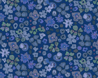 1/2 yard Las Flores 983 Blue designed by Nancy Rink for Studio 37 of Marcus Bros Fabrics