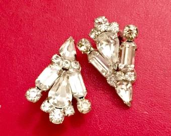 Vintage Clipon Wedding Rhinestone Earrings Signed Weiss 1940's Clipon Earrings Prom Earrings Wedding Somethiing OLD