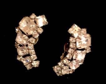 Vintage Weiss Rhinestone Earrings Signed Weiss 1940's Clipon Earrings Cluster Rhinestone Earrings Wedding Jewelry Somethiing OLD