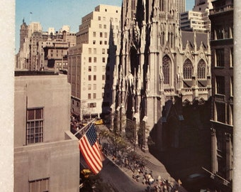 a5ae851b3a7 Vintage NY Postcard St Patrick s Cathedral and Fifth Avenue New York City NY